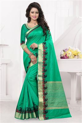 image of Traditional Party Wear Silk Saree In Cyan Color