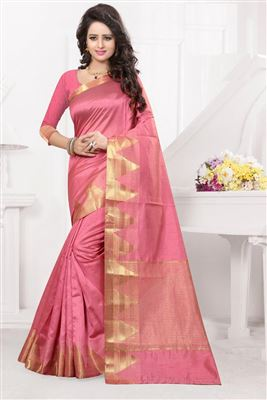 image of Blue-Pink Color Festive Wear Chiffon-Viscose Fabric Designer Half n Half Saree