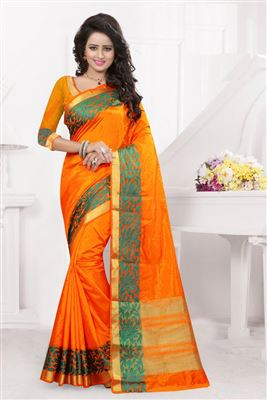 image of Cream And Orange Color Traditional Silk Saree With Silk Blouse