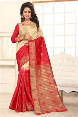 image of Pink-Black Festive Wear Embroidered Saree-9017