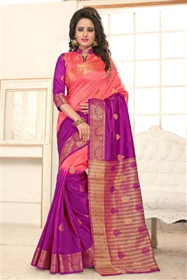 image of Pink Embroidered Chiffon-Georgette Party Wear Sari