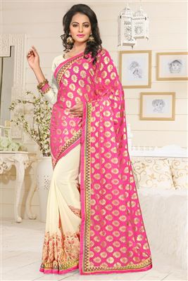 image of Red Party Wear Saree with Border-273