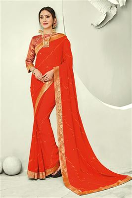 ed6ff5dfb42de5 image of Orange Lace Work Chiffon Fabric Party Wear Designer Saree