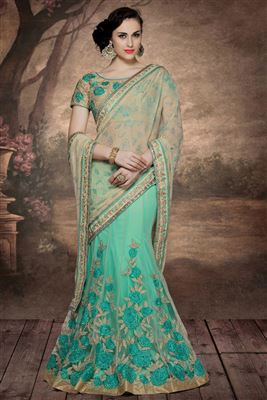 image of Wedding Wear Beige-Sea Green Color Net-Chiffon Embroidered Designer Lehenga Saree
