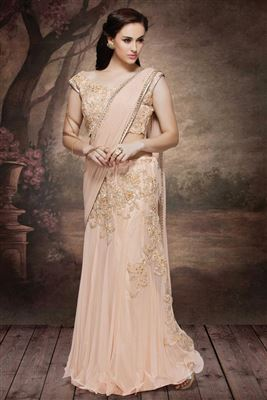 image of Designer Net -Lycra Peach Color Lehenga Saree with Embroidery