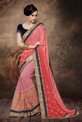 image of Pink Color Wedding Wear Embroidered Saree in Georgette-Net Fabric
