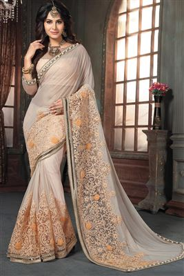 image of Orange And Cream Color Designer Saree In Georgette Fabric With Embroidery