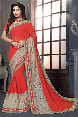 image of Orange Designer Party Wear Georgette Saree