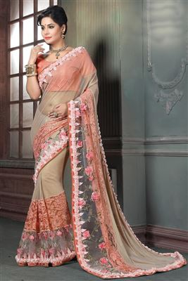 image of Black Color Designer Georgette Fabric Saree with Embroidery