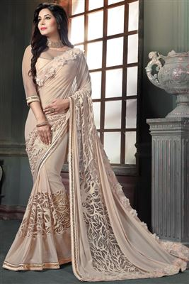 image of Pink Color Embroidered Crepe And Jacquard Saree with Dhupion Blouse