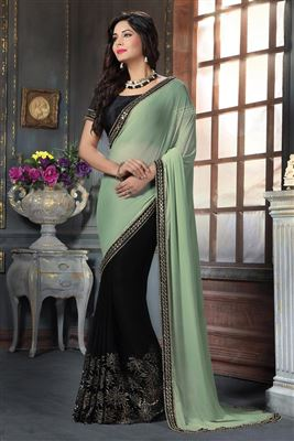 image of Green-Blue Chiffon Party Wear Printed Saree