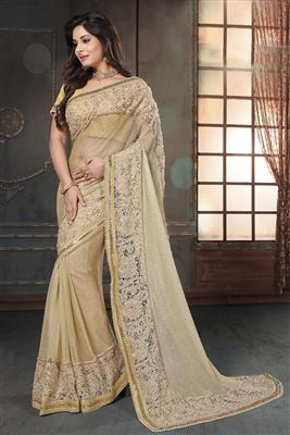 image of Beige And Pink Color Designer Chiffon Fabric Saree With Embroidery