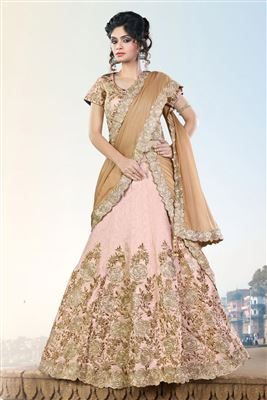 image of Beige Color Bridal Wear Embroidered Lehenga Choli in Net Fabric