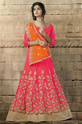 image of Blissful Red Color Embroidered Lehenga Choli