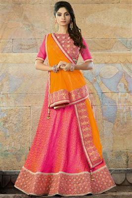 image of Striking Net-Shimmer Orange-Red Color Bridal Chaniya Choli