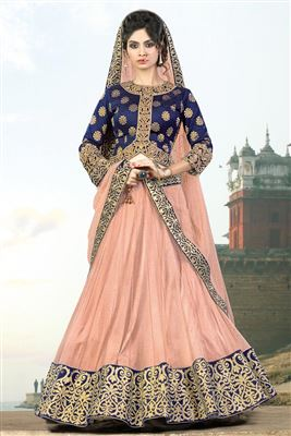 image of Wedding Wear Net And Lycra Fabric Embroidered Lehenga Choli in Peach Color