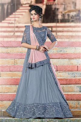image of Bridal Wear Pink Color Crepe-Satin Bridal Lehenga