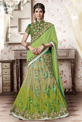 image of Fascinating Mehendi Green Color Lehenga Saree