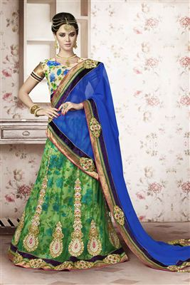 image of Designer Cream-Blue Color Embroidered Lehenga Choli