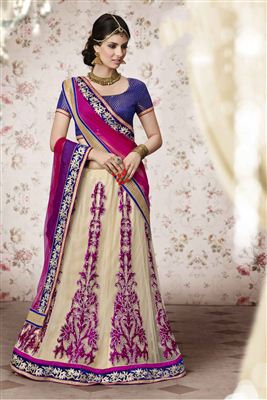 image of Imperious Wedding Wear Designer Fancy Fabric Lehenga Choli in Pink Color