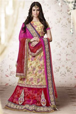 image of Cream Silk Designer Lehenga Choli-2116