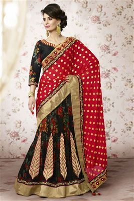 image of Fascinating Black Color Embroidered Lehenga Saree