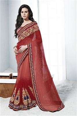 image of Alluring Red And Cream Color Embroidered Saree