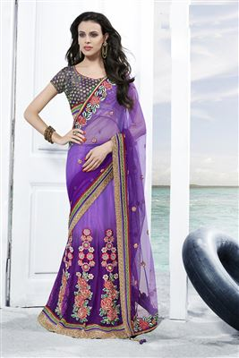 image of Stunning Purple Color Embroidered Lehenga Saree
