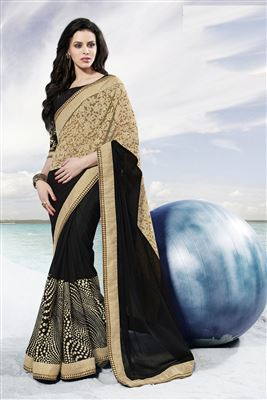 image of Cyan And Grey Color Georgette And Jacquard Tantalizing Saree