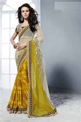 image of Sky Blue-Beige Saree with Heavy Embroidery Work