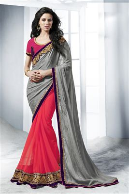 image of Blue Daily Wear Printed Georgette Saree
