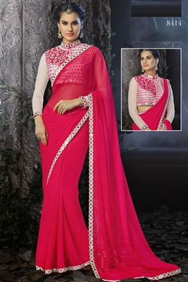 image of Red Georgette Saree Lehengaa Saree with Embroidery