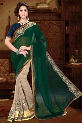 image of Beige Lycra-Georgette Festive Wear Half-Half Saree
