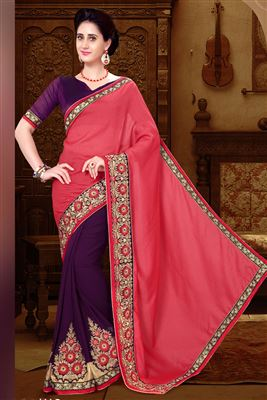 image of Georgette-Chiffon Fabric Party Wear Saree in Peach-Brown Color