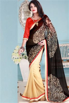 image of Beautiful Red Color Georgette Saree
