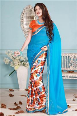 image of Red-Orange Designer Saree with Heavy Embroidery