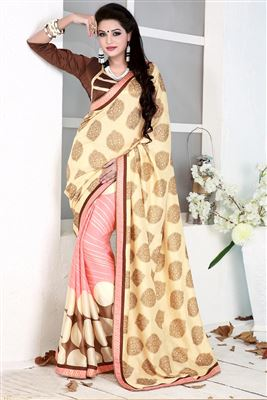 image of Golden-Pink Color Designer Crepe-Satin Saree with Embroidery