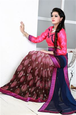 image of Red Designer Georgette Saree with Banglori Blouse