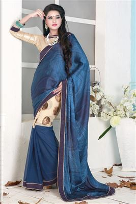 image of Cream-Blue Embroidered Designer Saree-4104