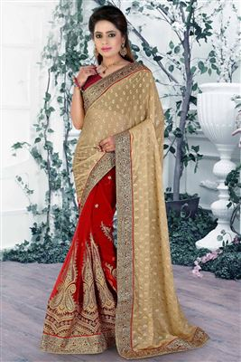 image of Designer Festive Wear Pink Color Saree In Georgette Fabric