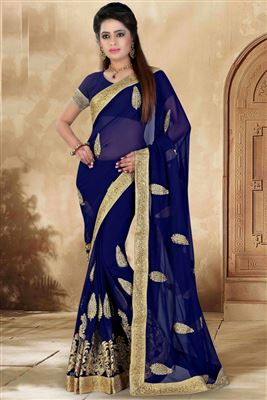 image of Cream Festive Wear Designer Georgette Saree