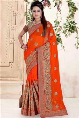 image of Enchanting Red-Beige Color Georgette Saree