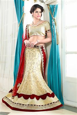 image of Beautiful Peach Color Net-Shimmer Bridal Lehenga