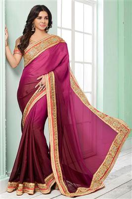 image of Orange-Beige Silk-Net Embroidered Designer Saree