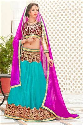 image of Bridal Wear Net Lehenga Choli with Embroidery in Pink Color