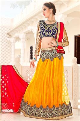 image of Red Color Wedding Wear Designer Lehenga Choli in Net Fabric
