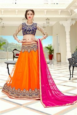 image of Blue-Pink Bridal Wear Art Silk Designer Lehenga Ch
