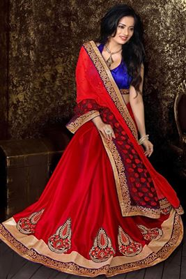 image of Off White Party Wear Saree with Double Blouse-2066