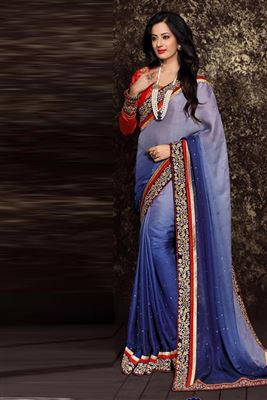 image of Sea Green And Purple Color Designer Lehenga Saree