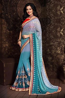 image of Lovely Sea Green Color Party Wear Bhagalpuri Saree